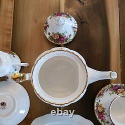 Royal Albert Old Country Rose tea set pot 4 cups saucers creamer sugar bowl tray