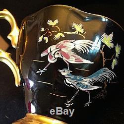 Royal Albert Oriental Chinoiserie Cranes Pagoda Horses Black Tea Cup And Saucer