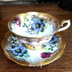 Royal Albert Portrait Series with Blue Red Yellow Flowers Tea Cup and Saucer