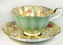 Royal Albert Princess Series Chintz Tea Cup & Saucer with Rose, Pansies Pale Green
