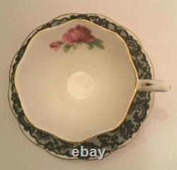 Royal Albert Senorita Black Lace Footed Cup And Saucer Set Bone China England