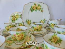 Royal Albert'Tea Rose' 23 Piece Tea Set, Cups, Saucers, Plates, Creamer, Sugar