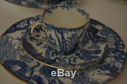 Royal Crown Derby Blue Mikado Flat Demitasse Cups With Saucers, Salad Plates