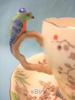 Royal Grafton Parrot Bird Handle Hand Painted Tea Cup & Saucer
