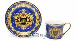 Royalty Porcelain 12-pc Blue Tea Set, Service for 6, Medusa Greek Key, 24K Gold