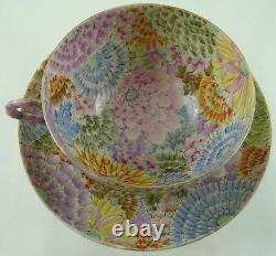SATSUMA EGG SHELL TEA CUP & SAUCER HAND PAINTED MILLE FIORI CHRYSANTHEMUM 19TH b