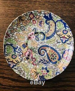 SHELLEY Blue Paisley Chintz Cup & Saucer 14038 Ripon Shape Gilt Trim Bone China