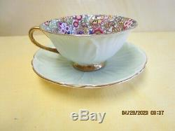 SHELLEY Blue Paisley Chintz Cup & Saucer Oleand Shape
