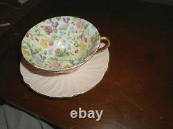 SHELLEY England OLEANDER SHAPE Countryside Chintz Pink Tea Cup & Saucer