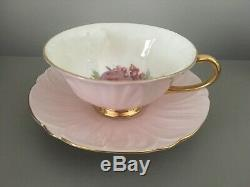 SHELLEY PEACHES TEA CUP AND SAUCER SET OLEANDER SHAPE FRUIT Dusty Pink