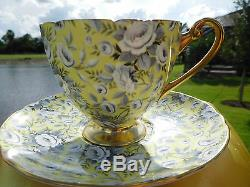 SHELLEY YELLOW TAPESTRY ROSE CHINTZ RIPON FOOTED CUP and SAUCER
