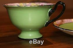 SHELLEY rose Swansea Lace Gainsborough shape green chintz TEA CUP SAUCER 11302