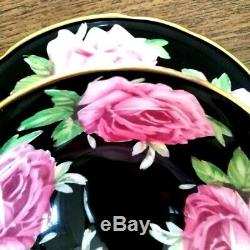 SOUGHT-AFTERED Aynsley Hand Painted Black Cabbage Roses China Teacup & Saucer