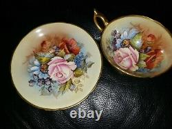 SPECTACULAR-RARE Aynsley Cabbage Rose Teacup and Saucer Signed J A Bailey-GOLD