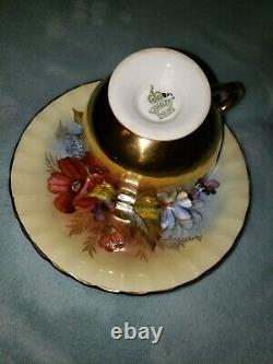 -SPECTACULAR and RARE Aynsley Cabbage Rose Teacup and Saucer Signed J A Bailey-