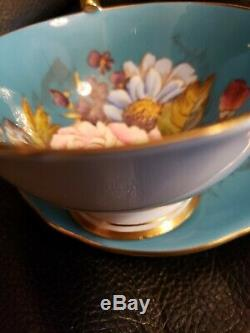 -SPECTACULAR and RARE Aynsley Cabbage Rose Teacup and Saucer Signed J A Bailey