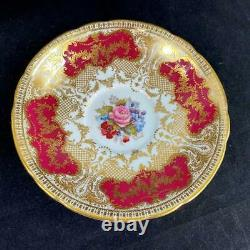 STUNNING Aynsley JA BAILEY Signed Cabbage Rose Heavy Gold Lace Cup Saucer C853