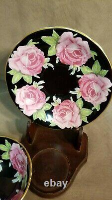 STUNNING and RARE Black Aynsley Pink Cabbage Roses Teacup and Saucer- England