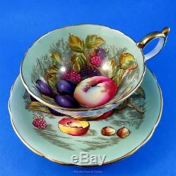 Sage Green Background D. Jones Fruit Painted Aynsley Tea Cup and Saucer Set