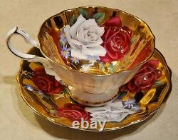 Scarce Queen Anne Large Cabbage Roses Gold Gilt Teacup and Saucer Set Vintage