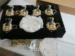 Sena Hanedan Gold plated Turkish Tea Glasses Service Set for 6 Made in Turkey