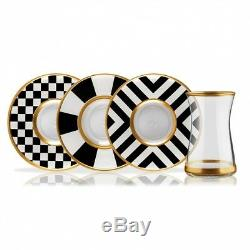 Set Gold With Black & White Turkish Tea Glass Set For 6 Elegant Style