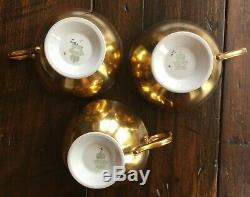 Set of 3 Aynsley J A Bailey Cup & Saucer Cabbage Roses Floral Gold Teacup Signed