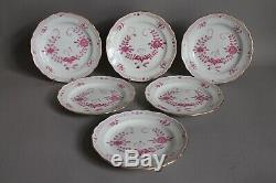 Set of 6 Coffee Tea Cups Saucers Plates Meissen Purple Indian Pink Flowers (A)