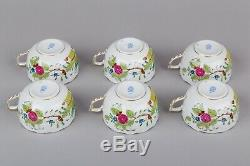 Set of Six Herend Indian Basket Multicolor Tea Cups with Saucers #724/FD