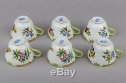 Set of Six Herend Queen Victoria Large Tea Cups with Saucers #1595/VBO