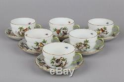 Set of Six Herend Rothschild Bird Pattern Tea Cups with Saucers #1726/RO