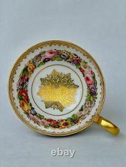 Sevres Large Antique Spectacular Cup Fabulous Enamel and Flowers Decor