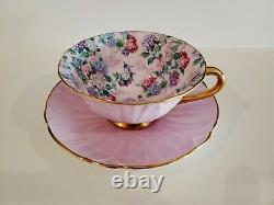 Shelley England Chintz Oleander Summer Glory Teacup And Saucer Lavender