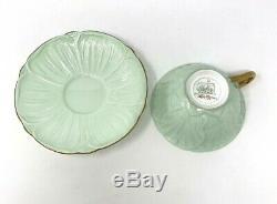 Shelley English Bone China Rock Garden Tea Cup & Saucer Mint Green