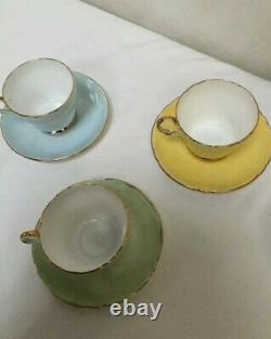 Shelley Fine Bone China Pastel Teapot and 6 x Tea Cups and Saucers