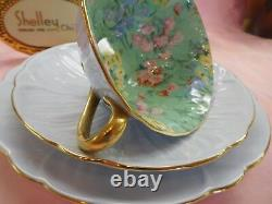 Shelley MELODY CHINTZ FOOTED OLEANDER CUP, SAUCER AND 7 PLATE GOLD TRIM