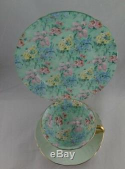 Shelley Melody Chintz Footed Oleander Cup, Saucer & Ripon Green Trim Plate Trio