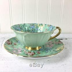 Shelley Melody Chintz oleander shape gold footed teacup and saucer mint green