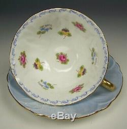 Shelley Oleander Roses Pansies Forget-me-nots Footed Tea Cup & Saucer Set (a)