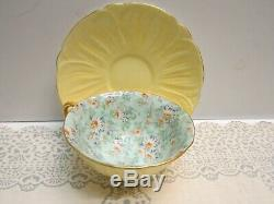 Shelley Oleander Shape Footed Cup & Saucer Marguerite Chintz Pattern EUC Vintage