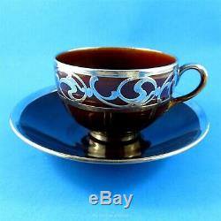 Silver Overlay Design on Brown Crown Staffordshire Tea Cup and Saucer Set