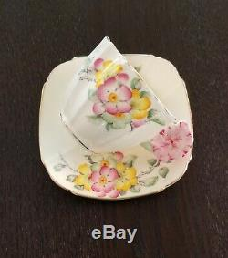 Star Paragon Apple Blossom Pansy Flower Handle Tea Cup And Saucer