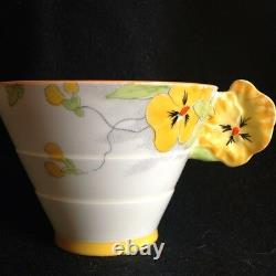 Star Paragon Flower Handle Pansy Tea Cup And Saucer