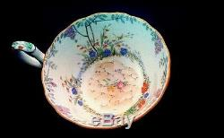 Star paragon garden hand painted pebbles wisteria tea cup saucer mint