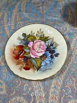 Stunning Aynsley Gold Teacup & Saucer Cabbage Rose Signed J A Bailey