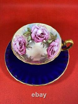Stunning Aynsley Royal Blue Teacup & Saucer Large Pink Cabbage Roses Bailey Type