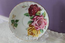 Stunning Aynsley Tea Cup And Saucer Huge Red Pink And Yellow Cabbage Roses