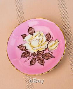 Stunning Rare Pink Paragon With Large White Rose Tea Cup Teacup Set Mint