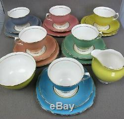 Superb vintage Colclough Harlequin Bone China TEA SET / SERVICE. Cups plates etc