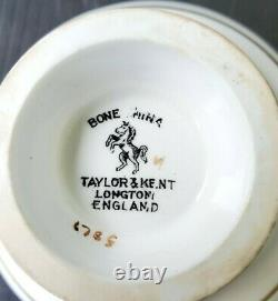 TAYLOR & KENT TEACUP & SAUCER SET RARE ANTIQUE EARLY 1900's WHITE ROSE ON YELLOW